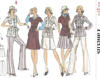 Vogue 8520 Misses' 70s Loose Fitting Jacket, A Line Skirt and Straight Legged Pants Sewing Pattern Size 8 Bust 31 1/2