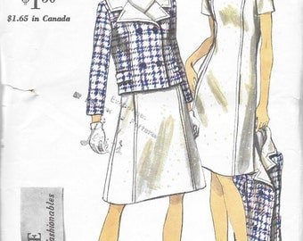 Vogue 6996 Women's 60s Dress and Double Breasted Jacket Sewing Pattern Bust 36