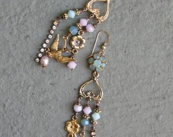 Shabby Chic Springtime Earrings! - Gold, Swarovski, Flower, Bird, Charm