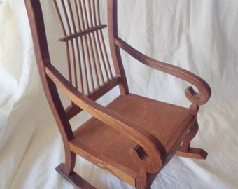 Vintage Handmade Wooden Doll Rocking Chair Rocker