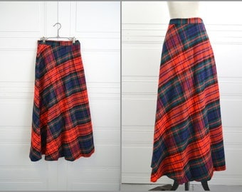 1970s Red Plaid Maxi Skirt