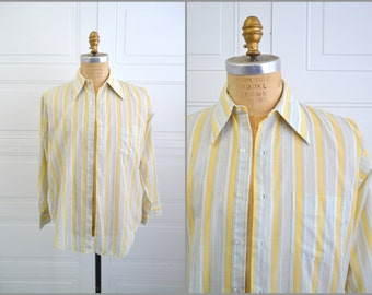 1970s Arrow Yellow Striped Button Front Shirt