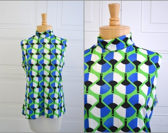 1960s Geometric Fan Sleeveless Shirt