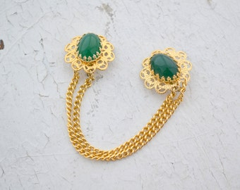 1960s Green Filigree Sweater Clips