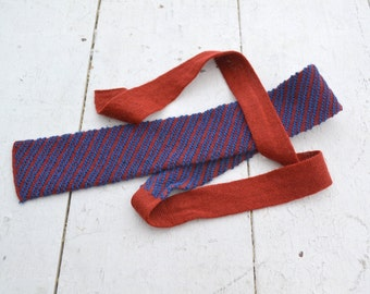 1960s Red and Blue Knit Square End Necktie