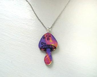 Magic Mushroom Dichroic Fused Glass Pendant, Pink and Purple Splash, Extra-Large Pendant