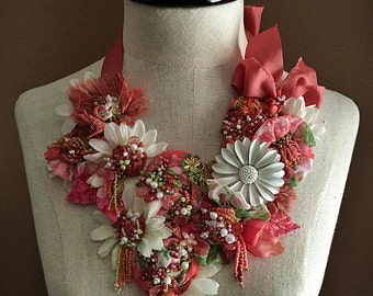 JUNE Mixed Media Textile Statement Necklace