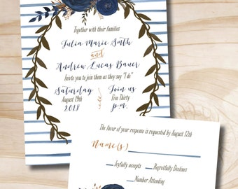 Watercolor Floral Peony Navy Stripe Wedding Invitation and Response Card Invitation Suite