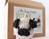 Pug Crochet Kit, Amigurumi Pug Kit, Craft Kit, Learn to Crochet, DIY Kit