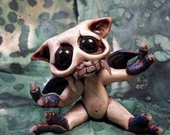 Scary Gary the Gremlin cake topper, desk buddy, collectible ,wickedly cute, polymer clay sculpture
