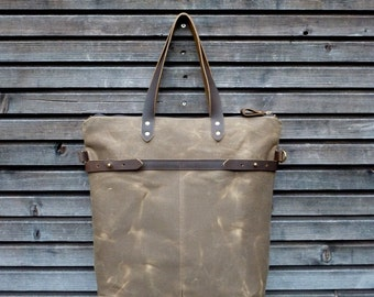 Waxed canvas tote bag with  leather handles and shoulder strap COLLECTION UNISEX