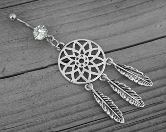 Silver Feather Dream Catcher Diamond Belly Button Ring Navel Piercing Native American Indian Southwestern Tribal Bohemian Boho Body Jewelry