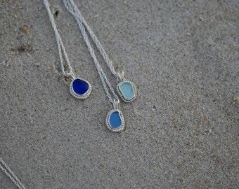 Mermaids Tears Necklace | Sea Glass Pendant | Silver Necklace