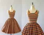 Vintage 50s Dress/ 1950s Cotton Dress/ Orange & Black Striped Cotton Dress w/ Matching Belt S