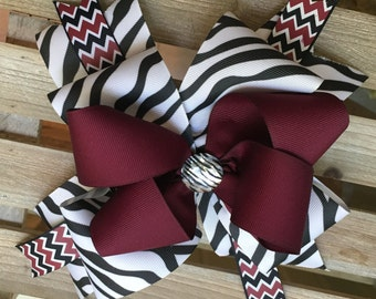 Maroon and Zebra Bow