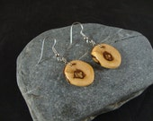 Round Wooden Dangle Earrings -  Maple Wood Tree Branch - Great gift for a birthday or anniversary