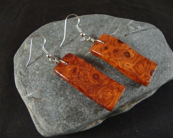 Wavy Wooden Dangle Earrings - Amboyna Burl Natural wood - Great gift for a birthday or anniversary