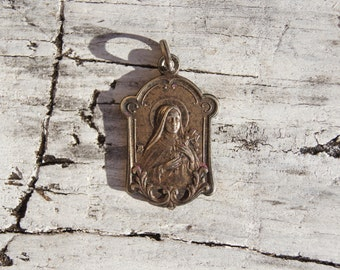 Victorian Religious St. Therese Medallion Pendant Charm