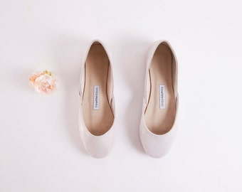 Silver White Sparkly Ballet Flats | Shiny Leather Ballerinas | Bridal Flat Shoes in Glitter | Silver White ... Ready to Ship!