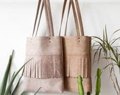 Clearance SALE Fringe Distressed Leather Tote bag No.tl- 9010