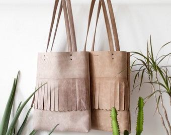 Fringe Distressed Leather Tote bag No.tl- 9010