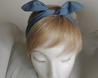 Denim Blue Wired Headband,  Bandana, Twist Head Scarf, Pointed Ends Head Band, Bunny Rabbit Ears, Hat Band, Head Wrap, Hair Tie, Hair Band