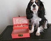 Petite Vintage Jewelry Box with Key for a Beauty Queen - Pretty in Pink with Gold Embossing & Satin Shabby Chic Lockable Treasure Chest