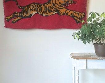 Amazing Tiger Shag Latch Hook Rug 70s