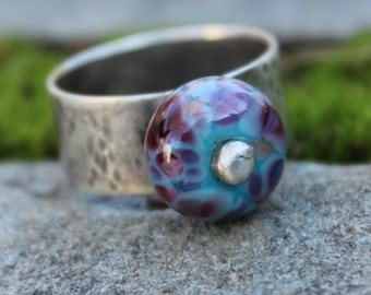 Sterling Silver and Lampwork Bead Ring, Size 7