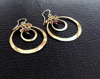 14k gold filled garnet earrings,moon eclipse dangle earrings, round gypsy earrings, yellow gold earrings, red stone, handcrafted earrings