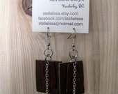 Leather & Chain Earrings - silver chain, dangle, brown leather squares, texture, layered, bohemian, eclectic, earthy