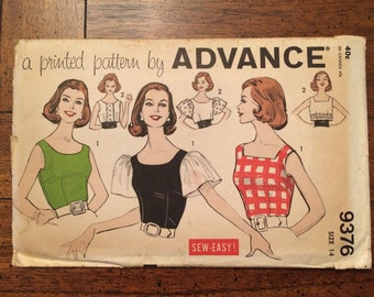 9376 1960's Women's Blouse and Cummerbund Advance Vintage Sewing Pattern Bust 34