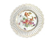 Dresden Style Decorative Plate / Reticulated Scalloped Edge / Florals with Gold Gilding / Early 20th Century