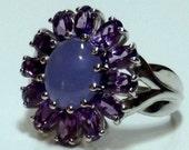 Enhanced Purple Jade  Amethyst Ring