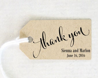 Thank You Tag, Wedding Favor Tag, Personalized Gift, Party Favor, Bridal Shower Take Away Gift - 1.25 2.25 inches, Set of 25, CAN