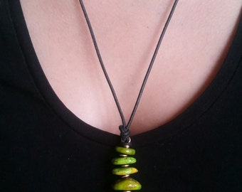 """NEW for SPRINGand SUMMER - """"Pine Tree"""" Necklace - Rare Lime Green Turquoise"""