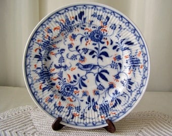 Antique Porcelain Plate Germany circa 1850s Ravenstein Co Factory Mark Thuringia Germany Blue Bird Straw Flower