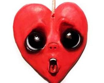 Heart Ornament - Valentines Day Decor - Valentines Day Gift - Valentines Ornament - Creepy Cute - Big Eyes - Love