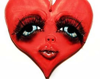 Heart Ornament - Valentines Day Decor - Valentines Day Gift - Valentines - Valentines Ornament - My Valentine - Creepy Cute - Kiss - LOVE