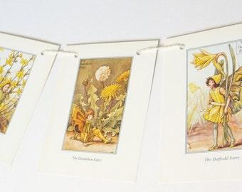 Flower Fairies Bunting, Yellow Fairies Bunting, Cicely Mary Barker, Flower Fairy Banner, Nursery Bunting, Paper Pennants, Playroom decor