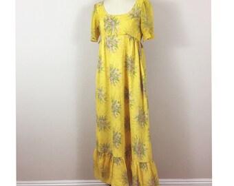 1960's Cute Yellow Maxi Dress, Sheer gauze cotton empire waist dress, Dutchess Jr. Vintage 60's, Hippie Festival Garden Dress, Size S M