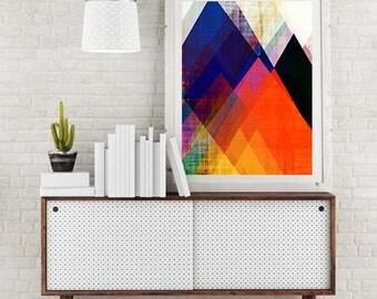 geometric print, modern art, contemporary art, mountain art, abstract mountain art, abstract geometric, geometric art, pink, bright art