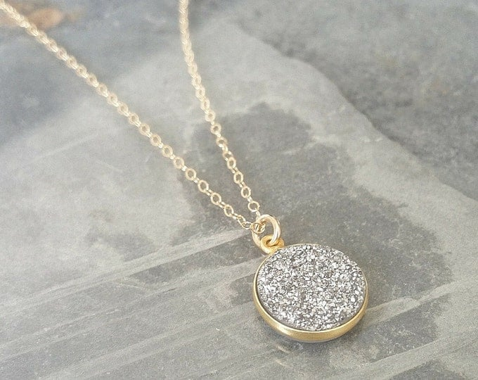 Silver Druzy Necklace, Silver Druzy, Druzy Necklace, Silver Druzy Gold Necklace, Gold Druzy Necklace