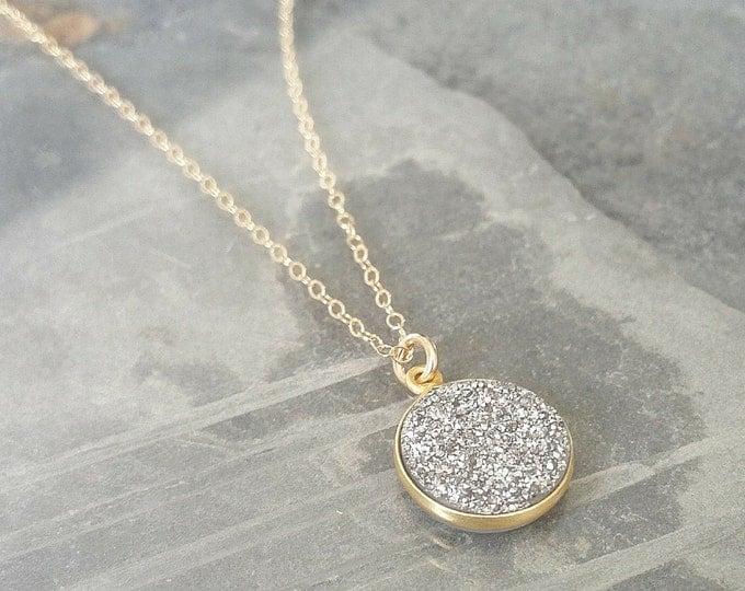 Silver Druzy Necklace, Silver Druzy, Druzy Necklace, Silver Druzy Gold Necklace, Gold Druzy Necklace