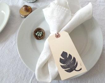 Botanical wedding tags, monstera leaf print, leaf place cards, wedding guest book alternative, wedding table numbers, wedding table decor