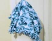 Fleece Tie Pet Blanket, Cat or Small Dog Pet Bed, Fleece Lap Blanket, Blue Roses Blanket