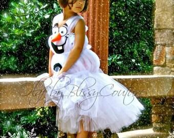 Girls Olaf from Frozen Inspired Tutu Dress Halloween Costume (Newborn - 5T)