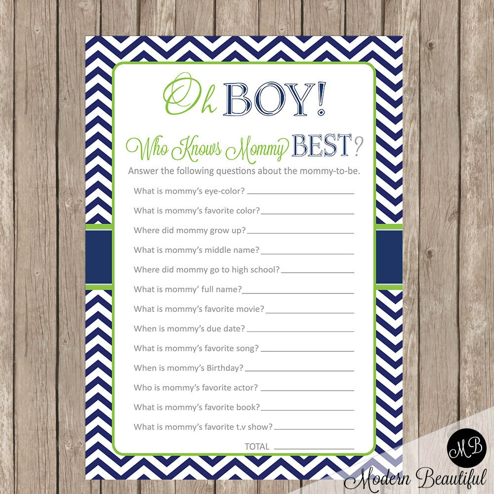 Oh Boy Baby Shower Game Who Knows Mommy Best Game Lime