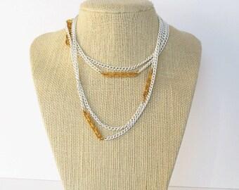 Vendome Necklace White Enamel Gold Tone Accents Endless Strand Vintage Necklace
