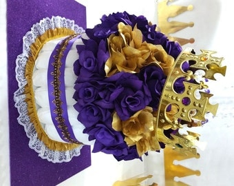 PURPLE & GOLD Diaper Cake Centerpiece For Princess Baby Shower / Girls Purple and Gold Baby Shower Theme and Decorations